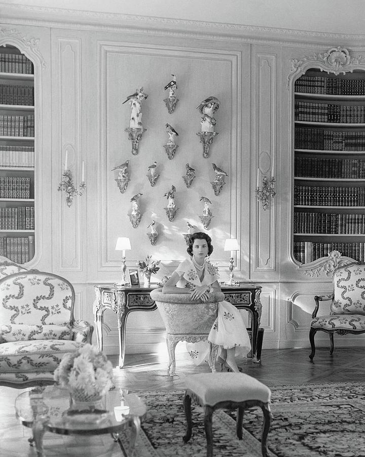 Jayne Wrightsman In Her Library In Palm Beach Photograph by Horst P. Horst
