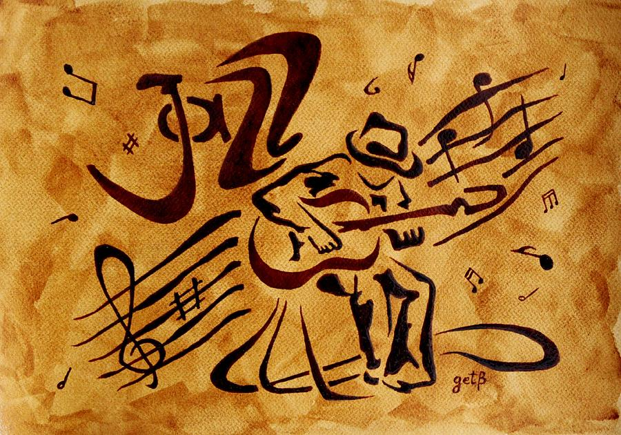 Guitar Singer  Coffee Painting Abstract Painting - Jazz Abstract Coffee Painting by Georgeta  Blanaru