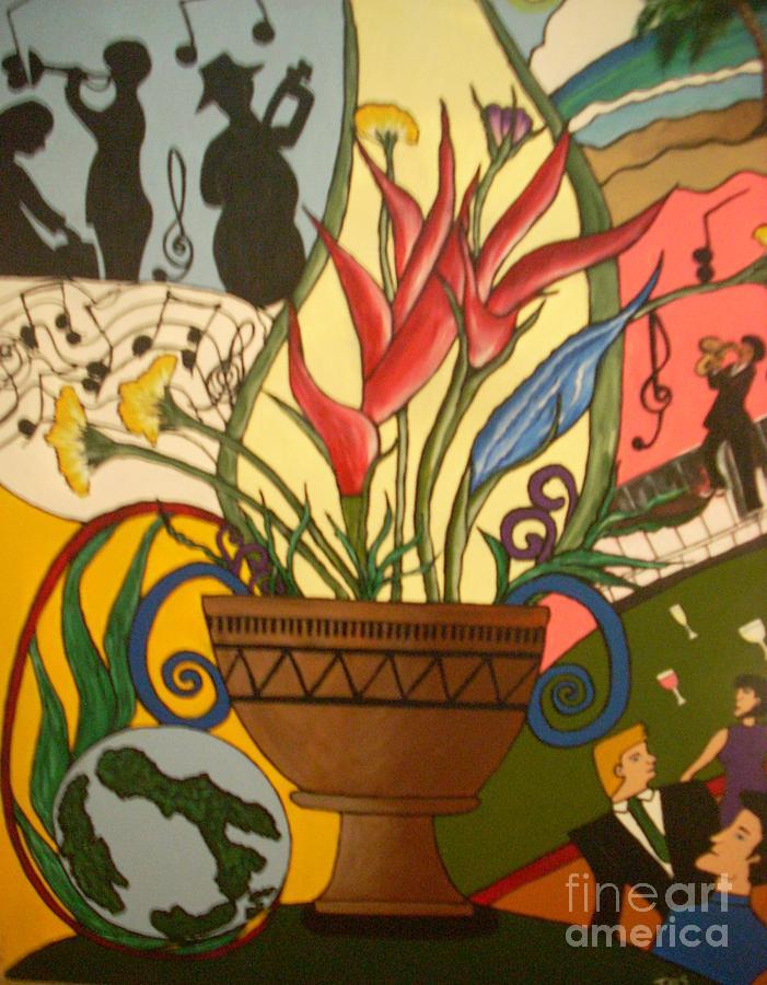 Jazz Around The World Painting by Iris  Mora