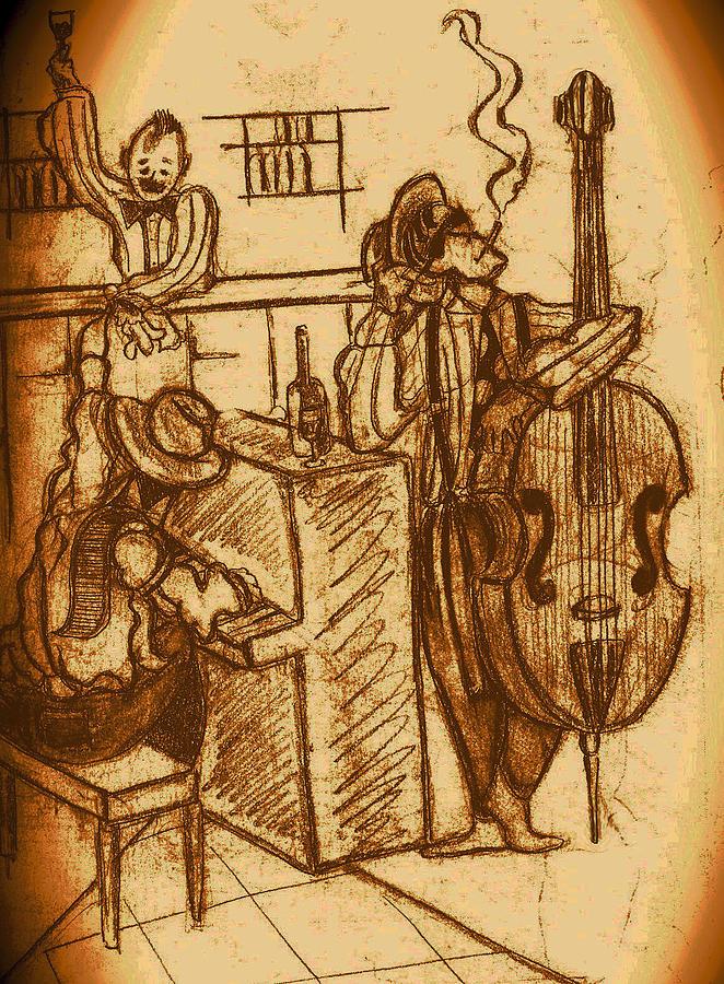 Marvel Drawing - Jazz Bar 1940s by Jazzboy