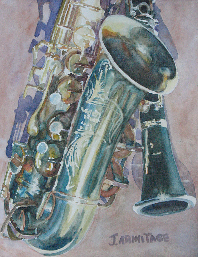 Sax Painting - Jazz Buddies by Jenny Armitage