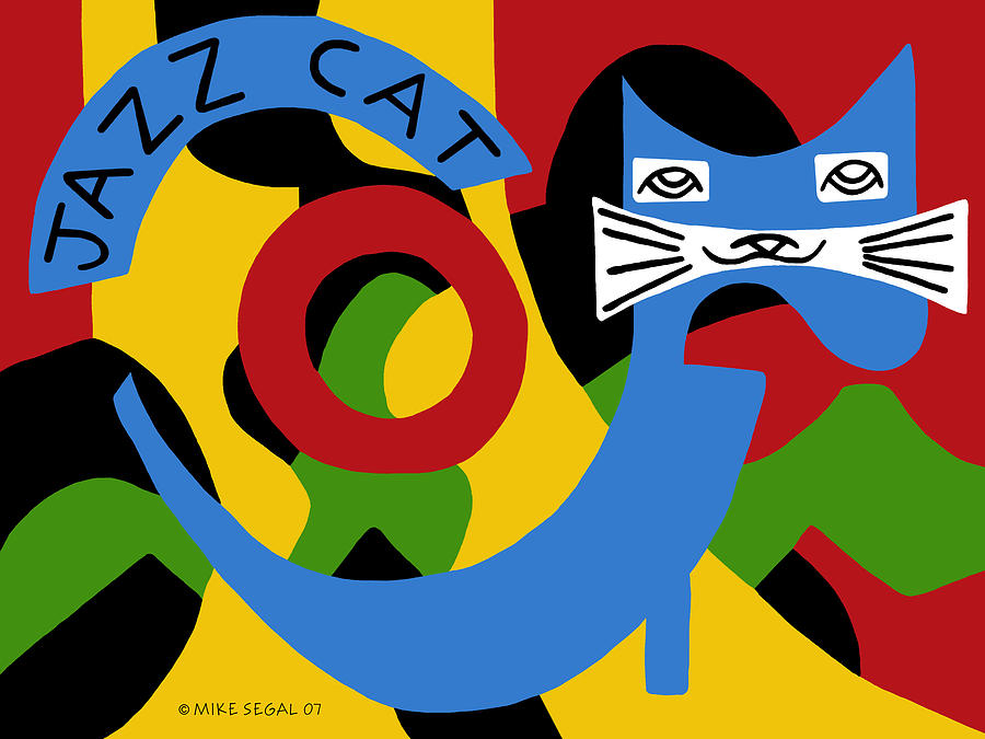 Jazz Painting - Jazz Cat by Mike Segal
