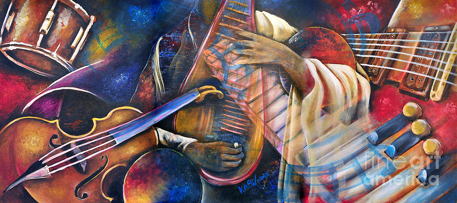Jazz Music Painting - Jazz In Space by Ka-Son Reeves