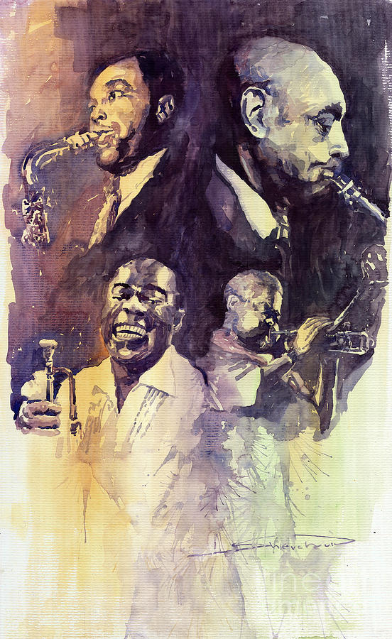 Watercolour Painting - Jazz Legends Parker Gillespie Armstrong  by Yuriy  Shevchuk