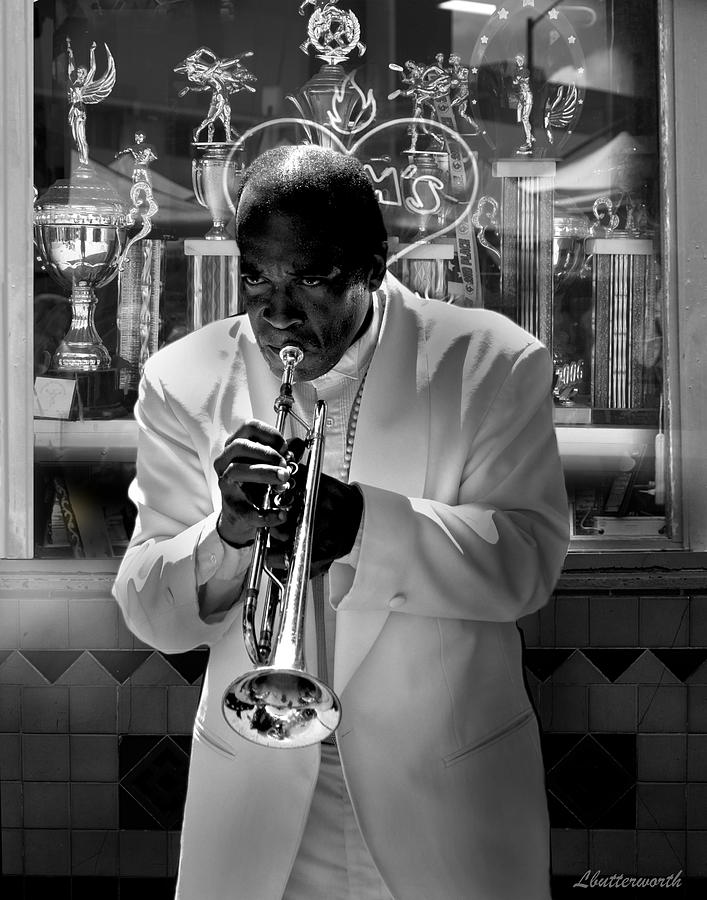 Music Photograph - Jazz Man by Larry Butterworth