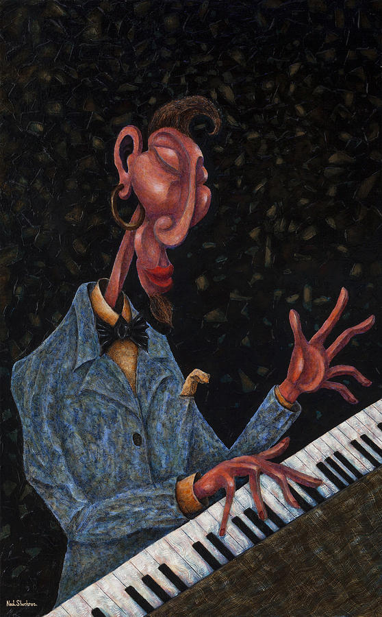 Piano Player Painting - Jazz Man by Ned Shuchter