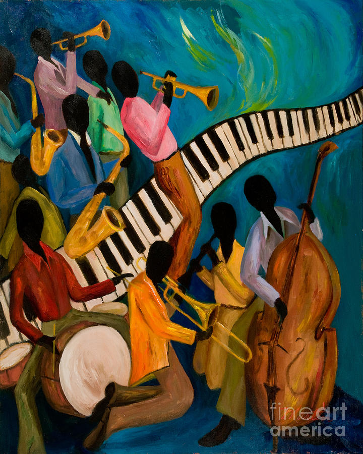 Jam Session Painting - Jazz On Fire by Larry Martin