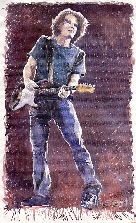 Jazz Painting - Jazz Rock John Mayer 01 by Yuriy  Shevchuk
