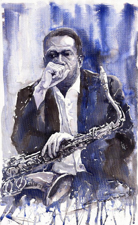 Jazz Painting - Jazz Saxophonist John Coltrane blue by Yuriy Shevchuk