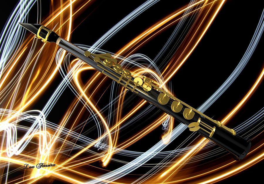 Soprano Sax Digital Art - Jazz Soprano Sax by Louis Ferreira