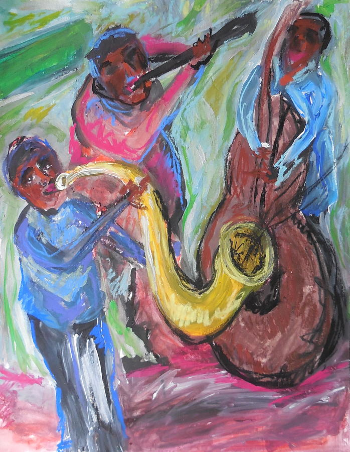 Jazz Band Painting - Jazz Trio Preservation Hall by Made by Marley