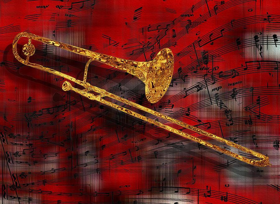 Tuba Painting - Jazz Trombone by Jack Zulli