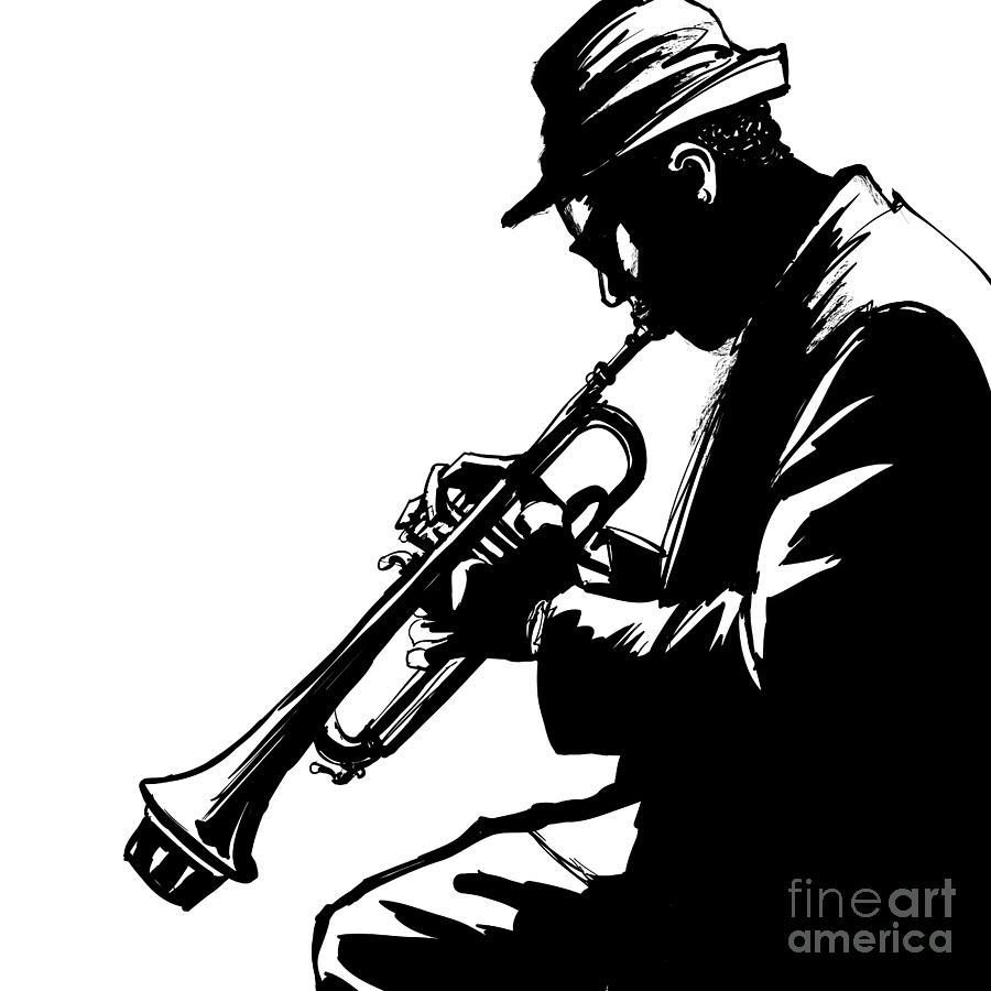Studio Digital Art - Jazz Trumpet Player-vector Illustration by Isaxar
