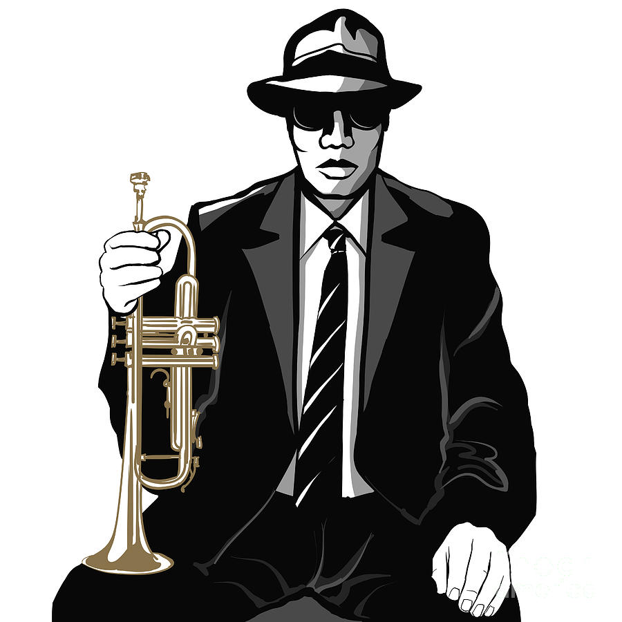Color Digital Art - Jazz Trumpet Player - Vector by Isaxar