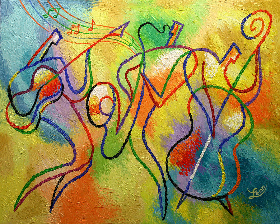 Cool Jazzband  Painting by Leon Zernitsky