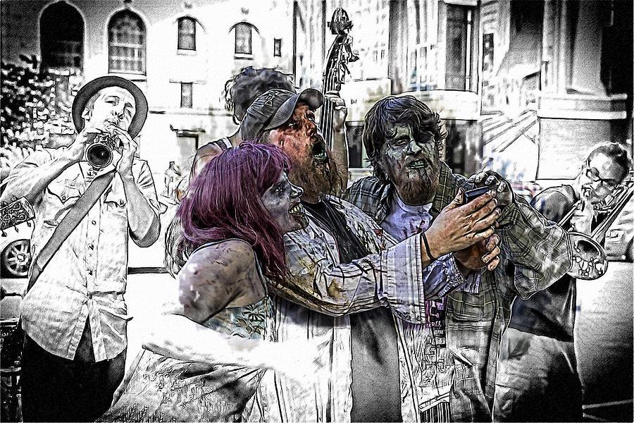 Zombie Horror Photograph - Jazzy Zombie Selfie by John Haldane