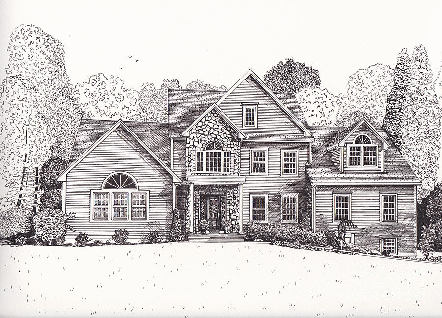 Jean and john 39 s house drawing by michelle welles for Drawings of a house