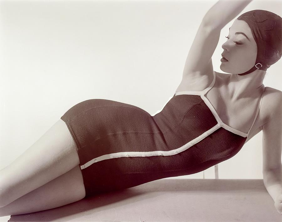31dd2e730a508 Jean Patchett Wearing A Sacony Swimsuit Photograph by Horst P. Horst