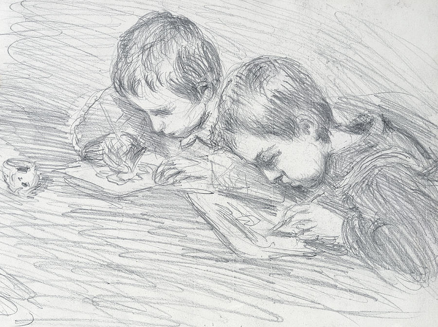 French Drawing - Jean Pierre Hoschede And Michel Monet by Claude Monet