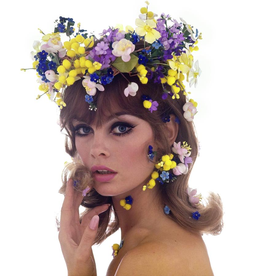 Jean Shrimpton Wearing A Flower Crown Photograph by Bert Stern
