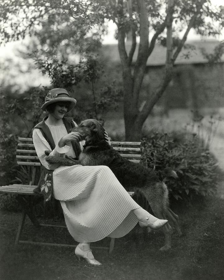 Jeanne Eagels Sitting Down On A Park Bench Photograph by Maurice Goldberg
