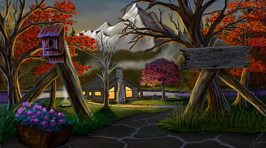 Nature Painting - Jeans Cabin Welcome by Brien Miller