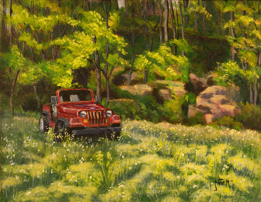 Jeep Painting - Jeep By The Bluff by Janet Felts
