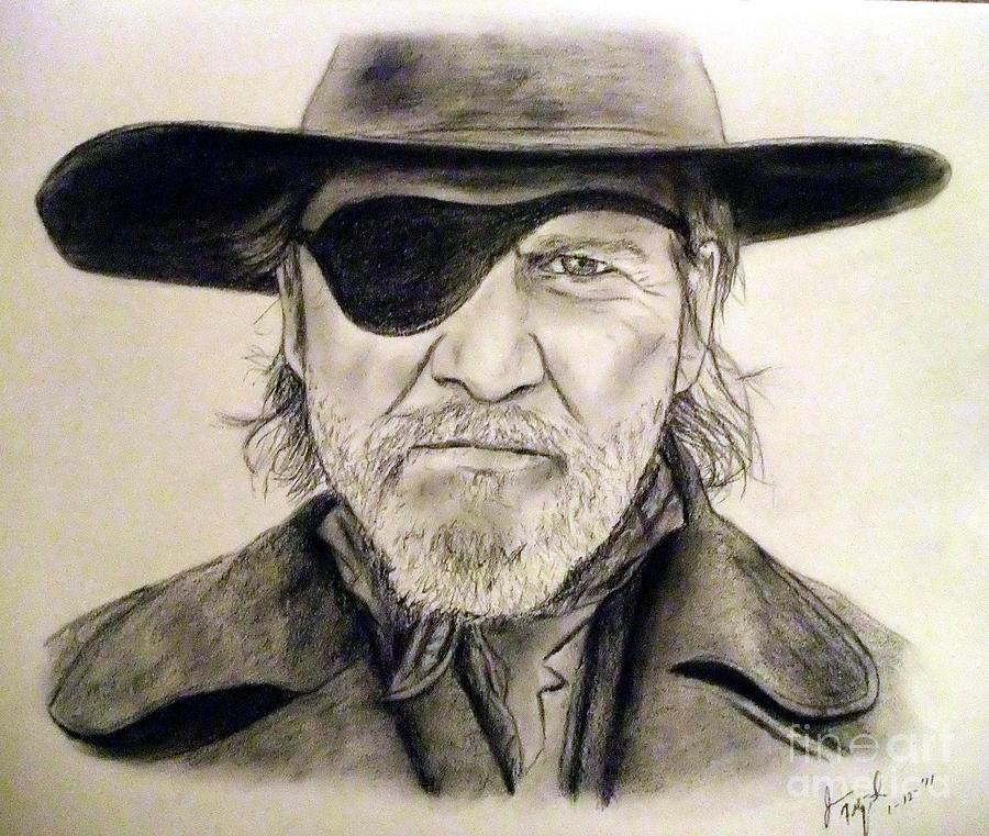 Jeff Bridges Drawing - Jeff Bridges As U.s. Marshal Rooster Cogburn by Jim Fitzpatrick