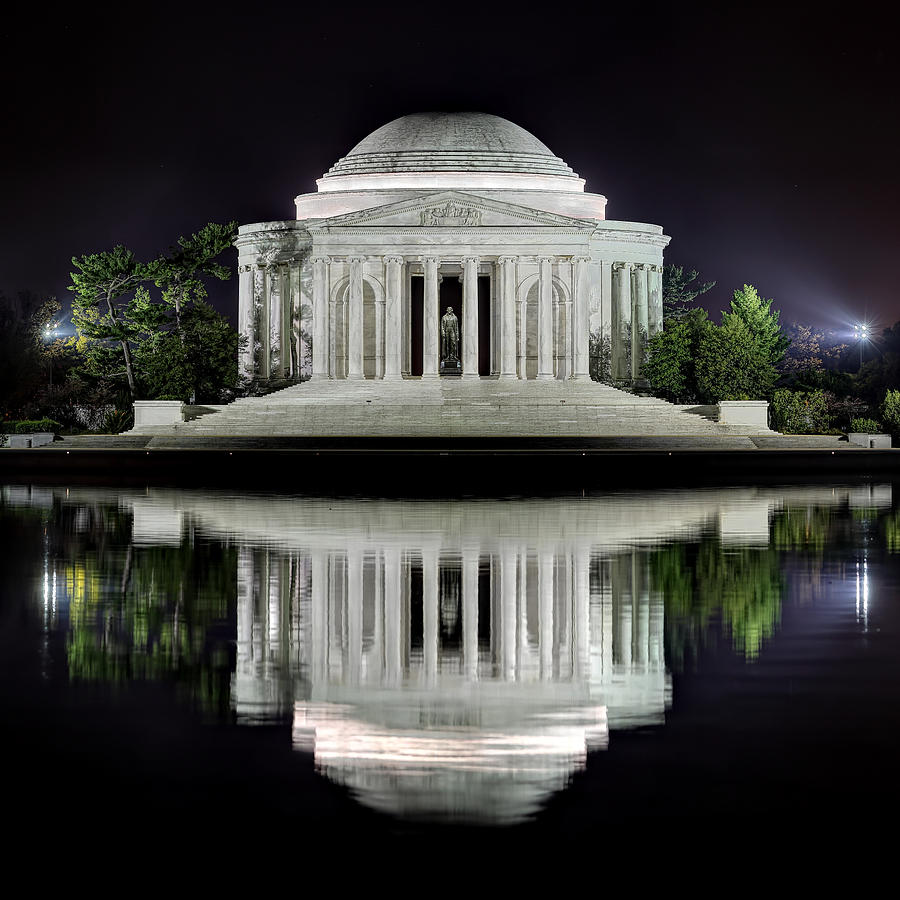 Water Photograph - Jefferson Memorial - Night Reflection by Metro DC Photography