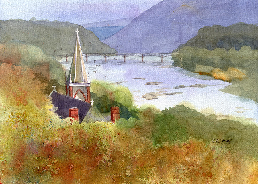 Watercolor Painting - Jeffersons View by Kris Parins