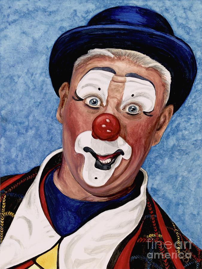 Clown Portrait Painting - Watercolor Clown #11 Jeffrey Potts  by Patty Vicknair