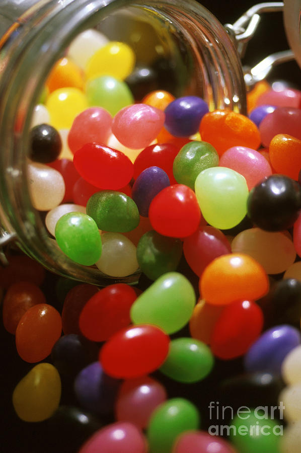 Abundance; Jelly Beans; Jar; Colorful; Heap; Shiny; Sweet Food; Sweets; Candies; Glass Photograph - Jelly Beans Spilling Out Of Glass Jar by Anonymous
