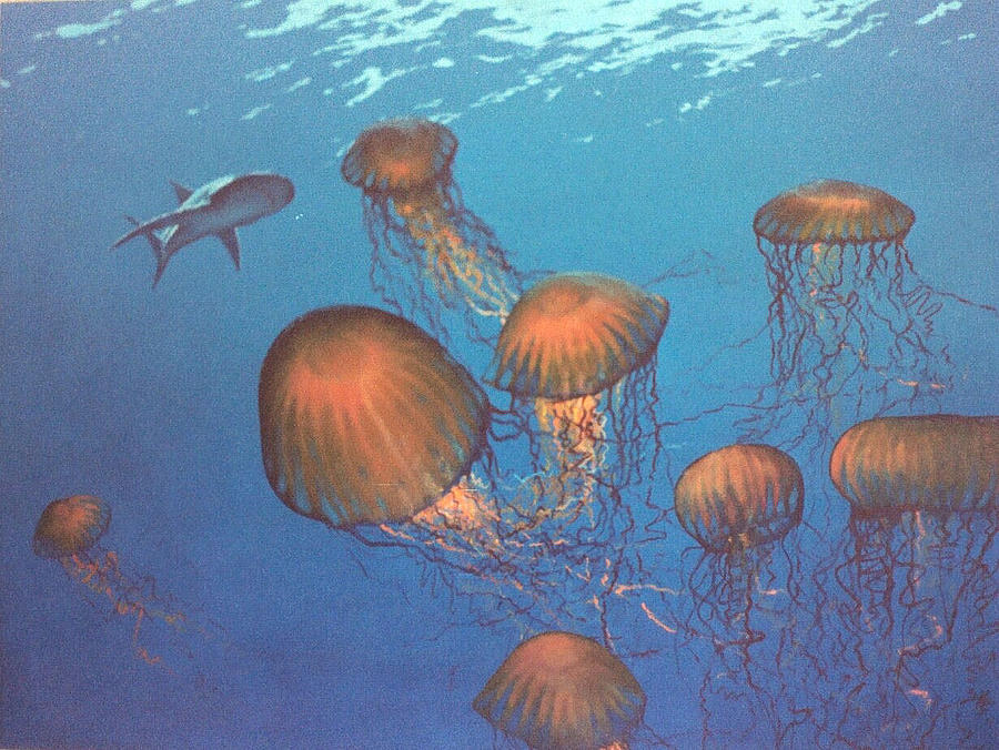 Underwater Painting - Jellyfish And Mr. Bones by Philip Fleischer