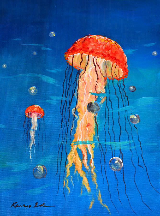 Jellyfish art 2 painting by kanayo ede for Jelly fish painting