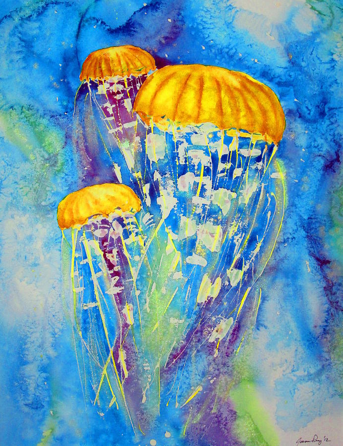 Jellyfish on the move painting by joann perry for Jelly fish painting