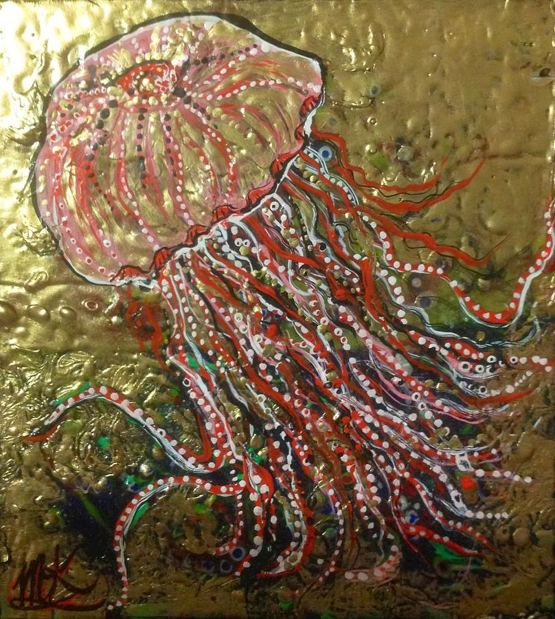 Jellyfish Painting - Jellyfish Pink And Gold  by Michaela Kraemer