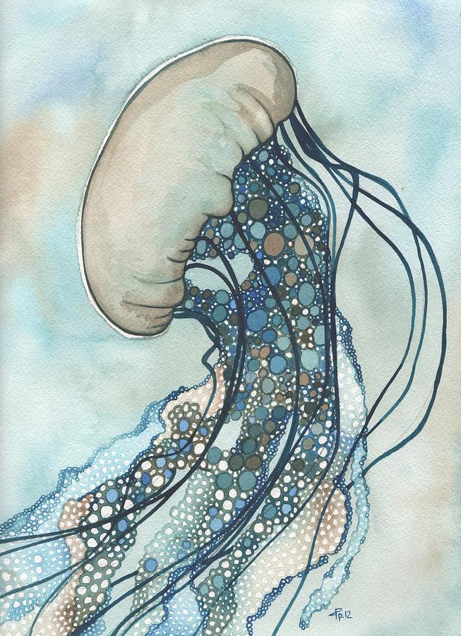 Marine Painting - Jellyfish Two by Tamara Phillips