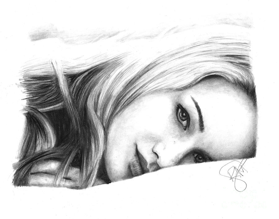 Jennifer Lawrence Drawing - Jennifer Lawrence 2 by Rosalinda Markle