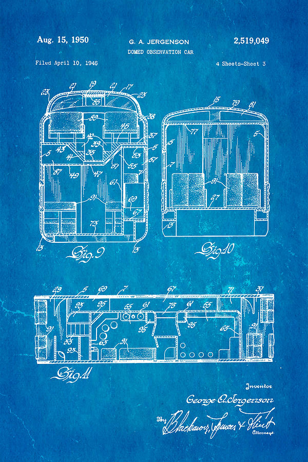 Engineer Photograph - Jergenson Domed Observation Car Patent Art 1950 Blueprint by Ian Monk