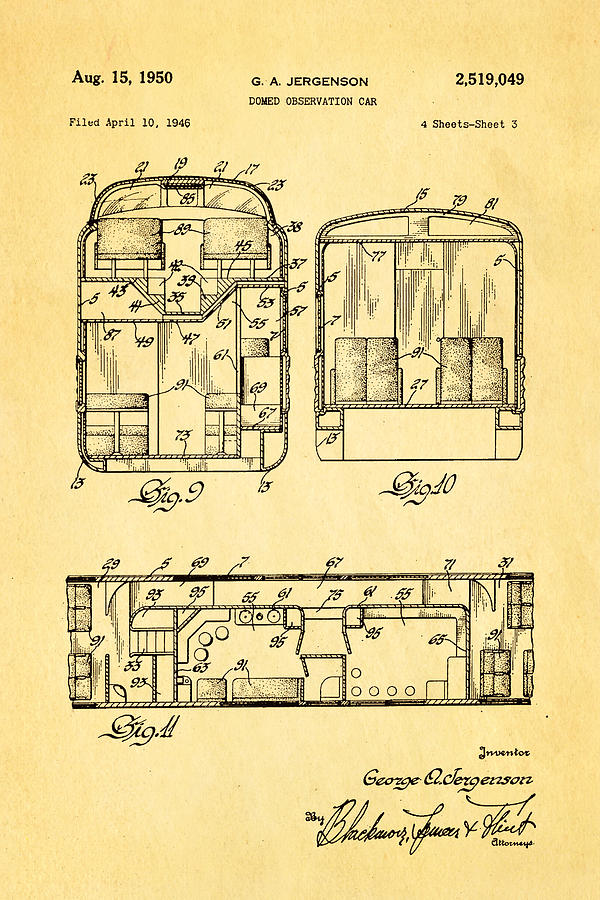 Engineer Photograph - Jergenson Domed Observation Car Patent Art 1950 by Ian Monk
