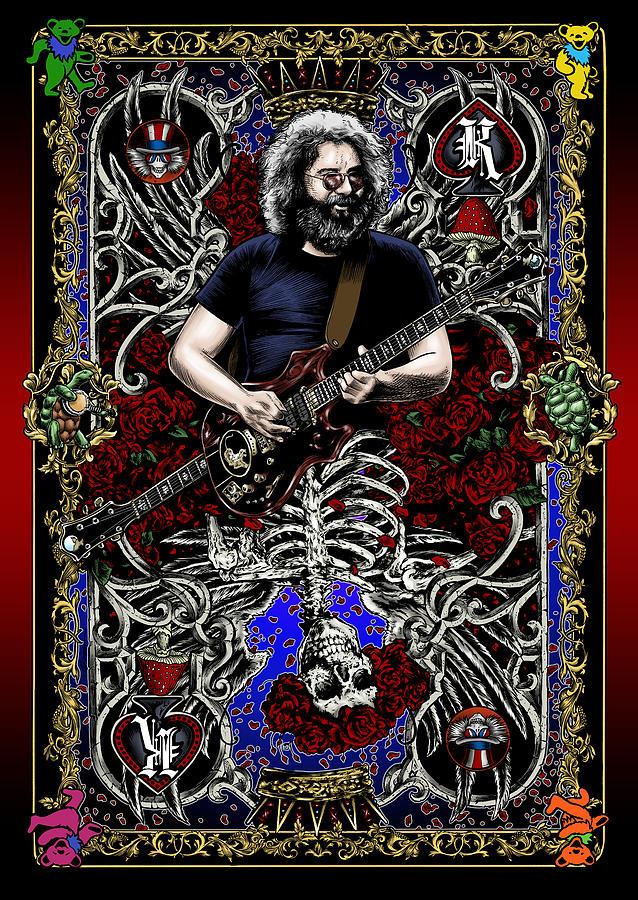 Jerry Garcia Drawing - Jerry Card by Gary Kroman