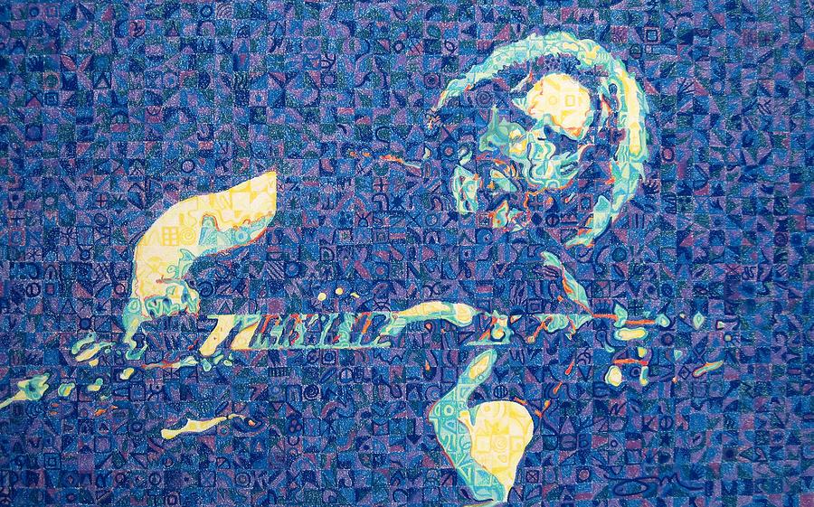 Jerry Garcia Drawing - Jerry Garcia Chuck Close Style by Joshua Morton