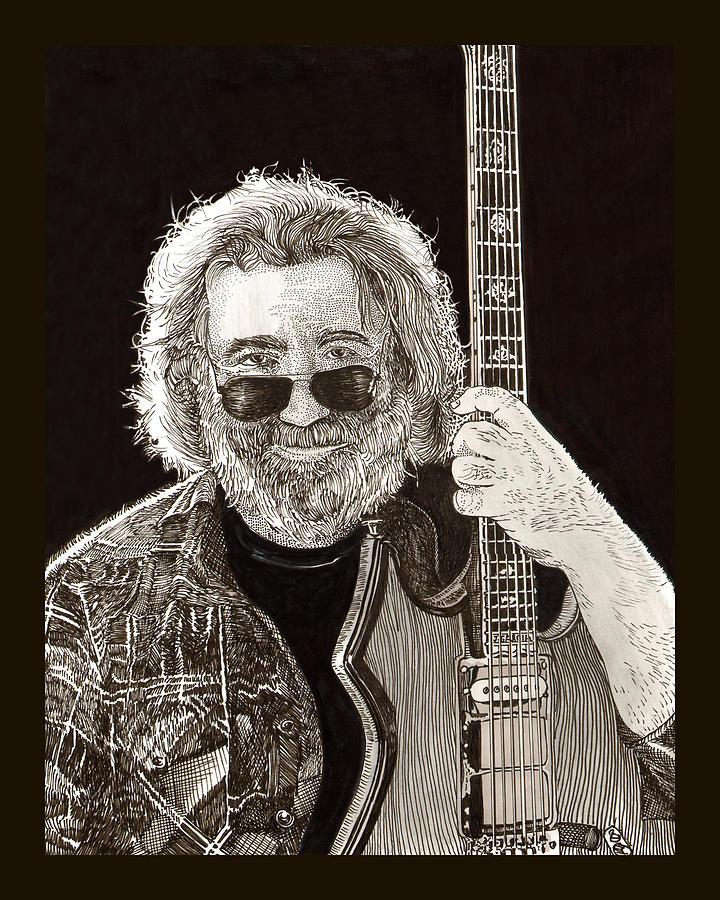 Jerry Garcia String Beard Guitar Drawing