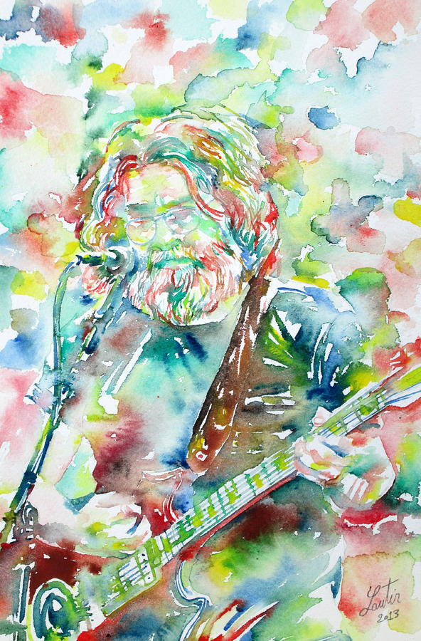 Jerry Painting - Jerry Garcia Playing The Guitar Watercolor Portrait.2 by Fabrizio Cassetta