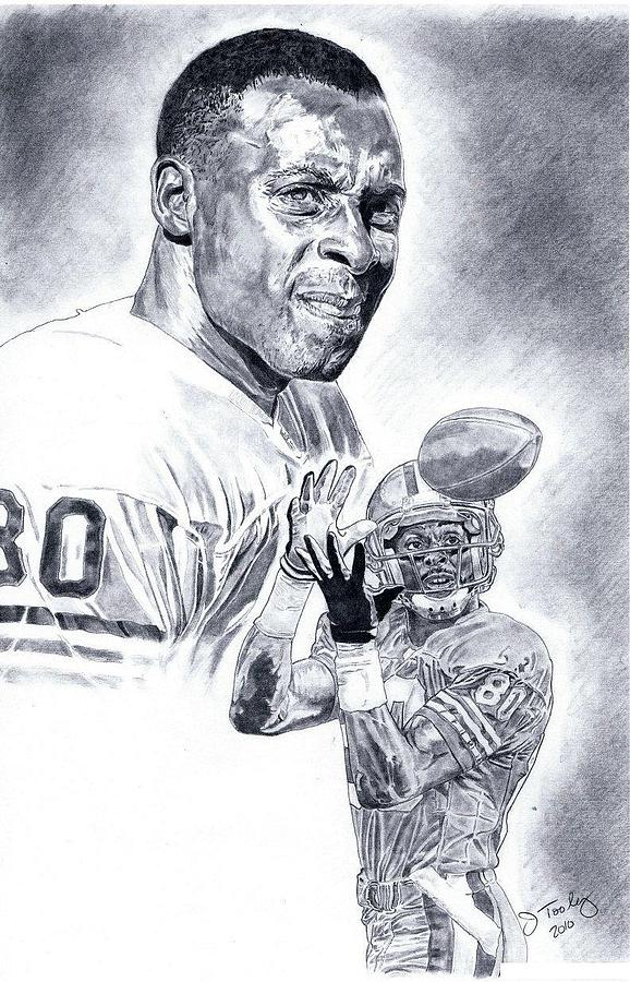 Jerry Rice Drawing - Jerry Rice by Jonathan Tooley