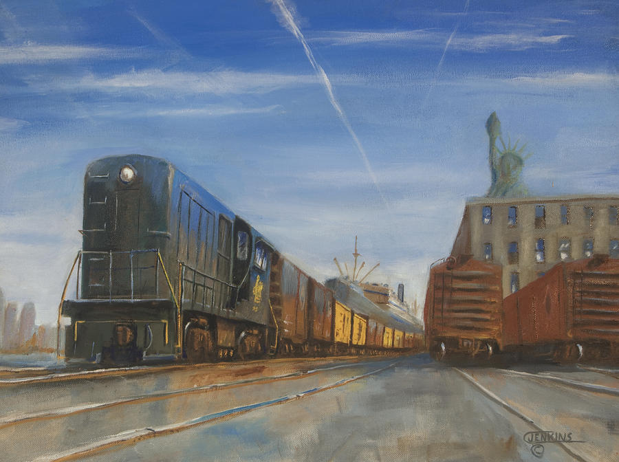 Trains Painting - Jersey Central Lines by Christopher Jenkins