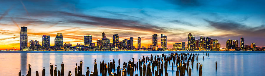 Jersey City panorama at sunset by Mihai Andritoiu