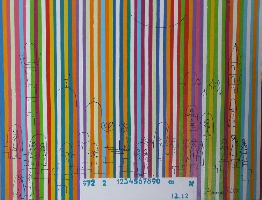 Urban Painting - Jerusalem Barcode by Hanna Fluk