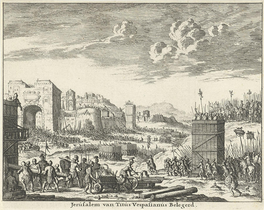 1682 Drawing - Jerusalem Besieged By Titus Variant A, Jan Luyken by Quint Lox