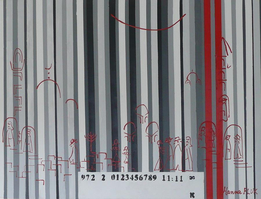 Urban Painting - Jerusalem Black And Withe Barcode by Hanna Fluk
